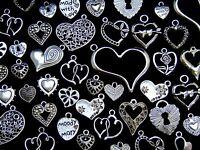 Tibetan Silver Random Mixed Heart Charms Pendants Love Christmas 28 Designs ML