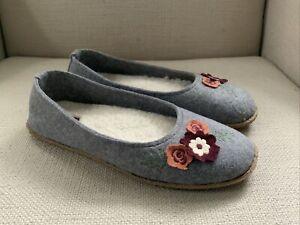 Acorn Flora Felt Gray Ballet Slippers Womens Medium 6.5-7.5 NEW