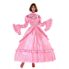 Sissy Girl Lockable Gothic Lolita Punk Satin Dress Crossdress Big Sleeve Costume