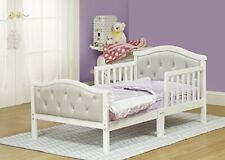 417 French White Padded Gray Toddler Bed