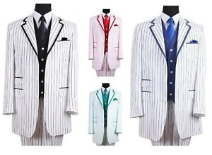Men's Milano Moda 3 Button Stripes Fashion Suit w/ Solid Vest 5908V