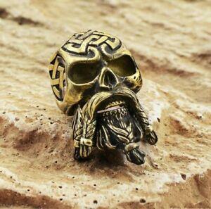 Bearded Skull Paracord Bead Bracelet Solid Bronze Handmade Lanyard Knife Beads