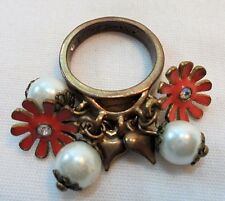Betsey Johnson Charm Ring Enamel Flowers/Faux Pearls/Hearts Valentines Day Gift