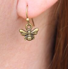 "Bee earrings cute and tiny antiqued gold color 3/4"" long lightweight comfortable"