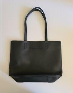 Oscar De La Renta Promotional Shopper Tote Faux Leather Black w/ Blue Interior