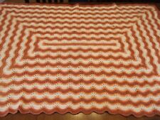 "Chevron Afghan GRANNY handmade vintage Crochet Quilt Throw Blanket 57""x41"""