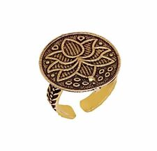 Beautiful Women wear Oxidized Gold Plated Lotus Design Adjustable-Ring-Jewelry