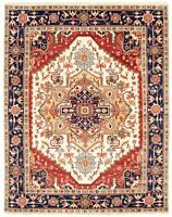 """Hand-knotted Carpet 8'0"""" x 10'1"""" Bordered, Geometric, Traditional Wool Rug"""