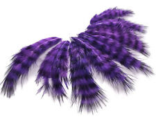 USA SELLER - 1 Dozen - Purple Grizzly Rooster Chickabou Fluff Mini Feathers