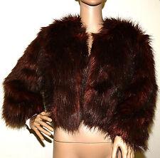 New $139 INC Burnt Amber Brown Cropped Faux Fur Jacket Coat medium