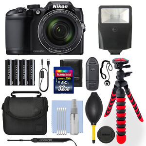 Nikon Coolpix B500 16 MP Digital Camera Black + 32GB Deluxe Accessory Package