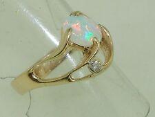 BEAUTIFUL 14K SOLID GOLD APPROX. 3/4CT FIERY OPAL & DIAMOND RING! SZ 8