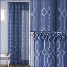 Navy Blue Hoxton Geometric Pattern Panel Voile Net Curtain Slot Top Single Panel