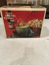 Vintage Cortina Electric Cornwall Avocado Metal Fondue Set New In Box