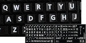 ENGLISH US KEYBOARD STICKER LARGE WHITE LETTERS BLACK BACKGROUND-COMPUTER LAPTOP