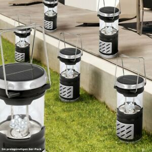6er Set LED Solarleuchte Verandabeleuchtung Campinglampe schwarz DxH 8,5x19,5cm