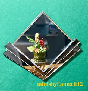 1:12 Dollhouse miniature Art Deco silver/bronze large beveled wall mirror