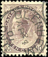 1898 Used Canada 10c VF Scott #83 Queen Victoria Numeral Stamp