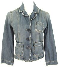 Abercrombie & Fitch Jean Jacket M Distressed Blue Denim Blazer Top Womens Medium