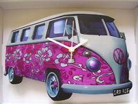 Pink 60's Retro Design Classic VW Camper Van Wall Clock. New & Boxed