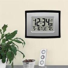 Self Setting Digital LCD Home Office Decor Wall Clock Indoor Temperature HT