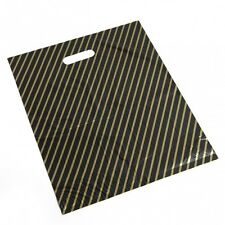 More details for deli supplies 50 x black & gold striped carriers large 22x18x4