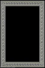 5x7  Area Rug  Modern Greek Key Design Solid Black with Border  New