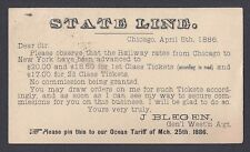 1886 TRAIN FARE RATES & TICKETS FROM CHICAGO TO NYC, NOW $18.50 OR $20.00
