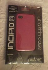 Incipio Iphone 4 & 4S Feather Ultra Thin Pink Case W/2 Surface Protectors New