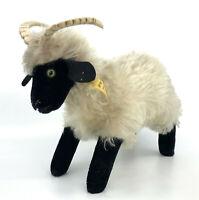Steiff Snucki Mountain Sheep Mohair Plush 22cm 9in ID Button Tag 1960s Vtg