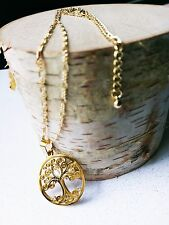 FAMILY TREE PENDANT 16'' GOLD PLATED CHAIN NECKLACE MADE WITH SWAROVSKI ELEMENT