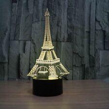 3D Lamp Paris Eifel Tower Optical Illusion Led Night Light 7 Color Touch Switch