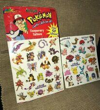 New B2 & Opened G2 1999 Vintage RoseArt Pokemon Temporary Tattoos