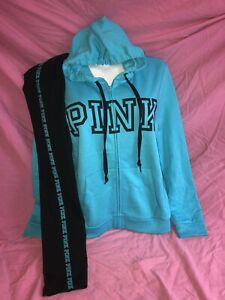 PINK Victorias Secret Loose Zip SWEATSHIRT  Turquoise Legging Set New L XL ❤️