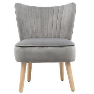Velvet Upholstered Vanity Dressing Table Chair Stool Oyster Back Solid Wood Legs