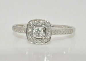 9ct white gold 0.25ct diamond cluster ring size N