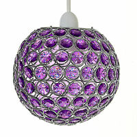 Modern Chrome Ceiling Light Shade With Acrylic Crystal Effect Bead Globe Pendant