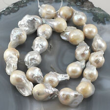 "*Natural White Pearl Keshi Reborn 18-24mm Beads 15""(PE87)c for DIY Jewelry"