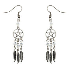 Lux Accessories Burnish Silver Pentagram Dreamcatcher feather dangle earrings