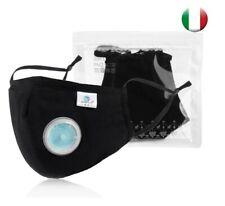 Mascherina nera con valvola e filtro PM 2.5