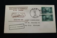 NAVAL COVER 1954 SHIP CANCEL WELCOME NORFOLK DUTCH PCE 1608 (6113)
