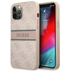 Genuine Guess Hard Impact Case 4G Stripe Logo for iPhone 12 Pro Max - Pink