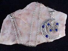 Tibetan Silver Filigree Crescent Moon Blue Diamante Butterfly Pendant Necklace
