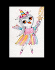 ACEO OWL Ballerina Costume Dance ORIGINAL Whimsical   Watercolor art