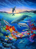 Dolphins and whales oil painting Giclee Art Printed on canvas L2370