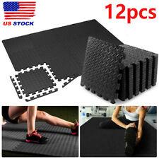 12pcs Exercise Floor Mat Gym Garage Home Tiles Flooring Fitness Yoga Workout New