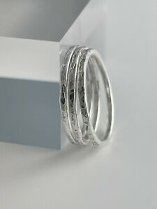Set of X3 1.5mm Sterling Silver Sparkly Hammered Stacking Rings H-Z Handmade UK