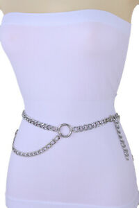Women Silver Metal Chain Skinny Waistband Belt Hip Side Ring Circle Size XS S M