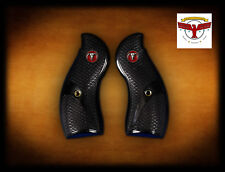 RUGER REDHAWK ROUND BUTT BLACK DIAMOND™ GRIPS ~ FISHSCALE + Red Steer Skull ^