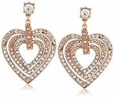 Betsey Johnson HOLIDAY PARTY Rose Gold-Tone Pave Heart Statement Drop Earrings